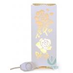 Rechaud Elétrico Aromatizador e Luminária Flor Rosa Branco