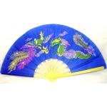 Leque Chinês Dragão/Fênix - Azul