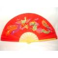 Leque Chinês Dragão/Fênix - Vermelho